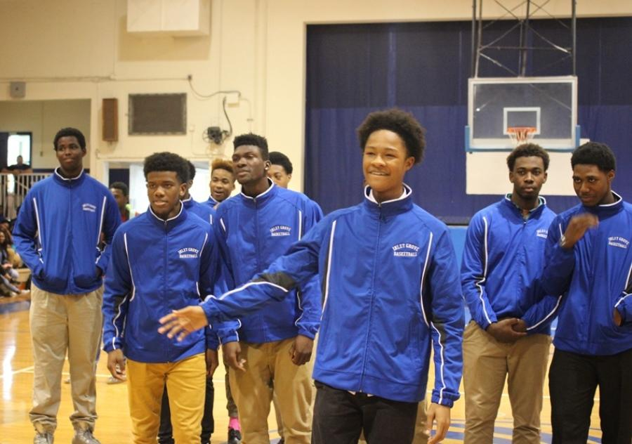 VARSITY SQUAD: Helping jump start  Friday's Pep Rally were basketball team members including, from left,  D'ontaye, Dharma, Loit, Khalil, Donte, Javery, Butler and Javaris.