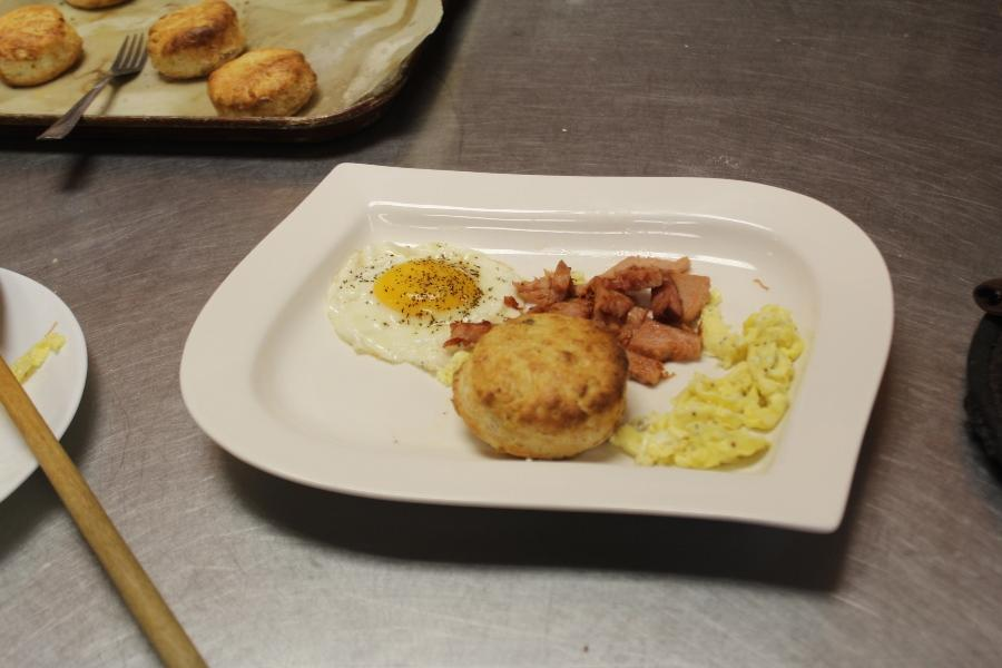 EGGCELLENT: Culinary Academy students were challenged by Chef Newman to prepare eggs in different ways including: scrambled, fried, or trying to make an omelet.  Some groups added biscuits and ham to impress Chef even more.