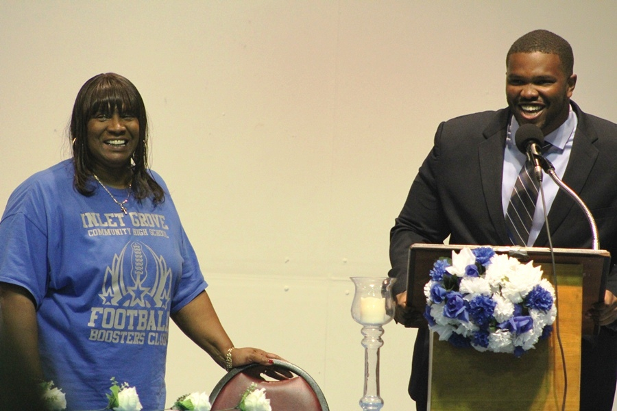 Coach Bradden and his mom during the Canes' Sports Banquet in May 2016.