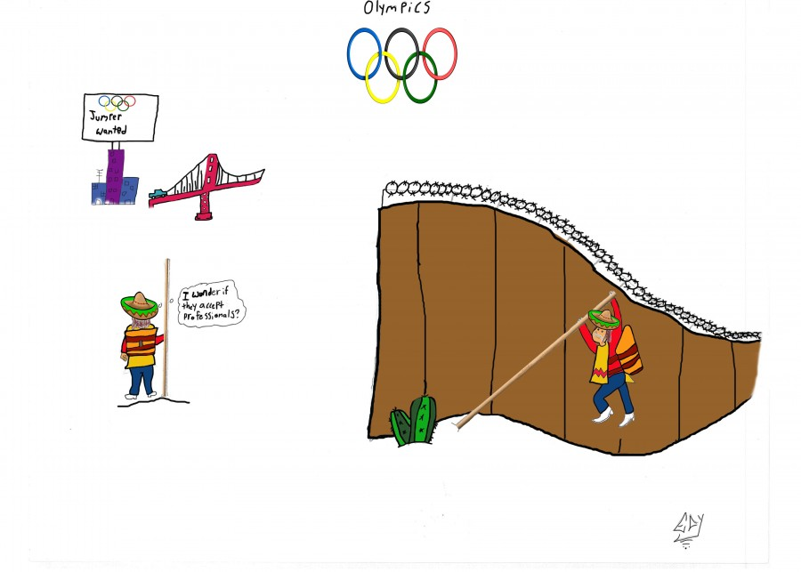 The+artist+says+this+stereotypical+cartoon+is+about+how+Mexicans+are+good+border+jumpers.