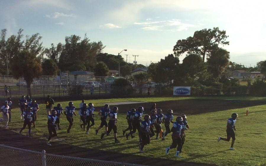 The Inlet Grove Football  players first home game