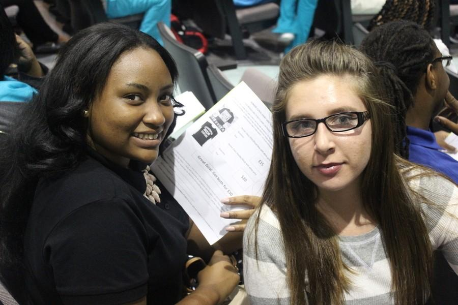 FIRST SENIOR MEETING: Tatyana Berrien, left, and Makeighla Claunch were in the auditorium among members of the self-described
