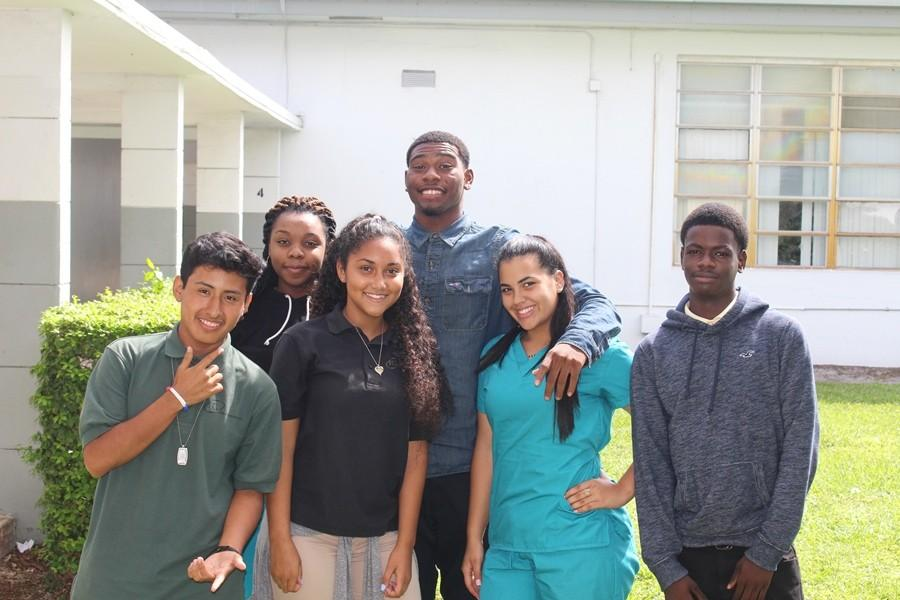 MEMBERS OF 2K17: Some of the juniors who say their class is the best are (from left) Chris Hernandez, Midline Geffard, Liarra Thompson, Mitchel Delsume, Daisy Quiroga and Bierhof Lucien.