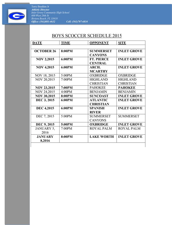 Boys Soccer Schedule 2015 Official