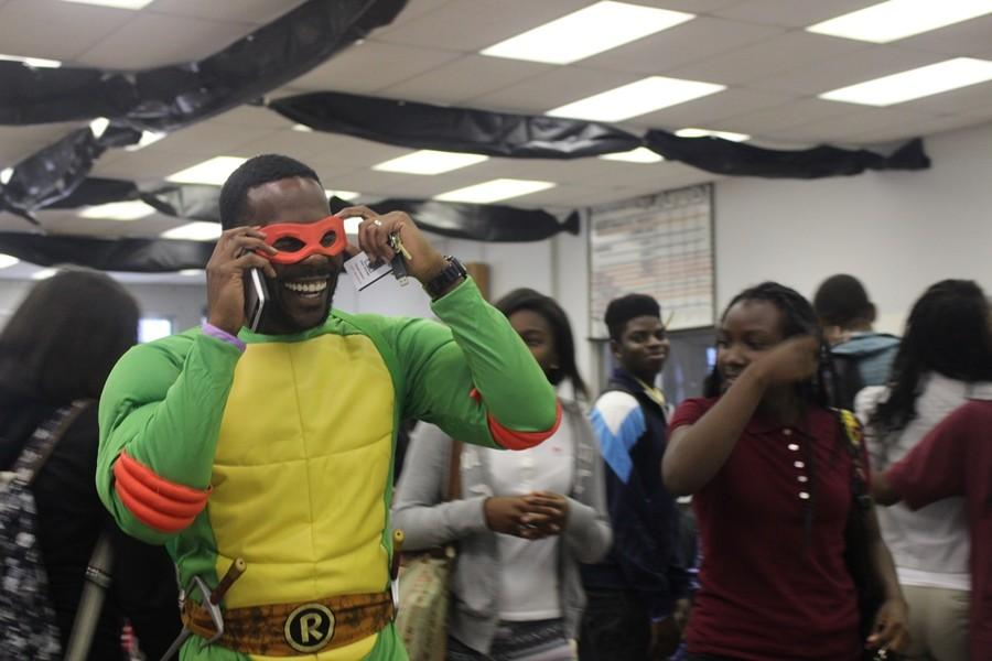 NINJA TURTLE: Environmental Science teacher Mr. Isaac Georges was the teachers Halloween Costume Contest winner at the 2015 Haunted House.