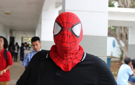 SPIDERMAN STALKS INLET:  It's not even Halloween yet, and Andrew Sandoval already has the Haunted House spirit.