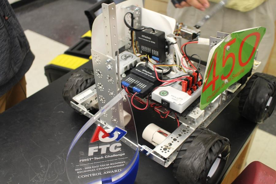 ZOOM: Robot 450 delivered the Control Award to the Canes Robotics Team, Children of the Swamp, at Florida Atlantic University Tech Runway Regional Championship on Jan. 16.