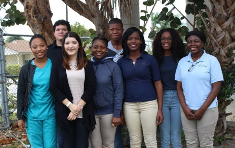 GOING TO THE KRAVIS: The 2016 Inlet Grove Pathfinders candidates are: (front row, from left) Megan Tackore, Science category; Osmara Salazar, History/Political Science; Zahira Lovett, Technical/Vocational/Agricultural; Dieumitha Ferdelus, Forensics/Speech; Dejanai Williams, Community Involvement; Shirley Pierre, Communications; (second row) Andrew Sandoval, Reach for Excellence and Derico Jones, Business. (Not pictured: Angie Garcia, Art/Photography and Shaylla Renejuste-Robinson, Literature.)
