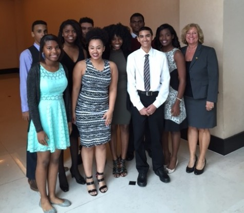 IN HONORABLE COMPANY: Inlet Grove Pre-Law students with their instructor Lonnie Martens, right, met and heard a speech by Florida Supreme Court Justice James Perry while attending the 15th Annual Holland Scholarship Luncheon hosted by the Malcolm T. Cunningham Bar Association, Feb. 5 at the Kravis Center in West Palm Beach.