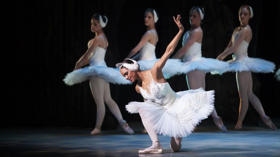 MISTY COPELAND: The prima ballerina (center) as the leading lady in Swan Lake.