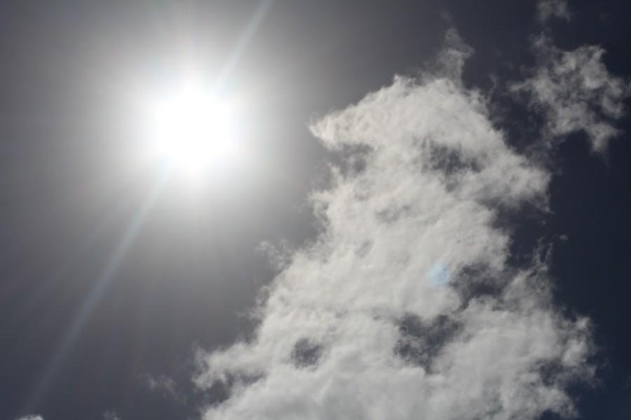 WANDERING CLOUD: Drifting through clear skies.