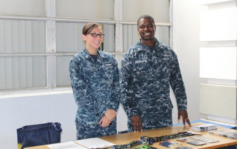 NAVY RECRUITERS: Petty officers, Jennifer Dye and Jerome Bridgewater, came to talk to students about different military scholarships.