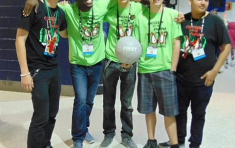 LET'S COMPETE: Inlet Grove'sRoboticTeam competed at the FIRSTRoboticWorld Champions in St.Louis, Missouri last week and made it to the semi-finals which was said to be one of the tough divisions. The members (L-R) Edward Smith, Emmanuel Marcelin, the team's teacher sponsor,Grayson Grinner,Alex CoteandRicardo Martinez went against teams from all around the world as more then 12 countries were represented at the event.