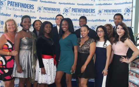 SMILE: Our Inlet Grove  PathFinder nominees attend the annual Pathfinder High School Scholarship Awards where they are recognized for their outstanding achievement in categories such as academics, vocational, and athletics.  From left to right: Lonnie Martens (Pre-law teacher), Dieumitha Ferdelus, Megan Tackore, Shirley Pierre, Andrew Sandoval, Dejanai Williams, Derico Jones, Shaylla Renejuste-Robinson, Angie Garcia, Zahira Lovett,  Francisco Lopez (Sophomore AP) and Osmara Salazar.