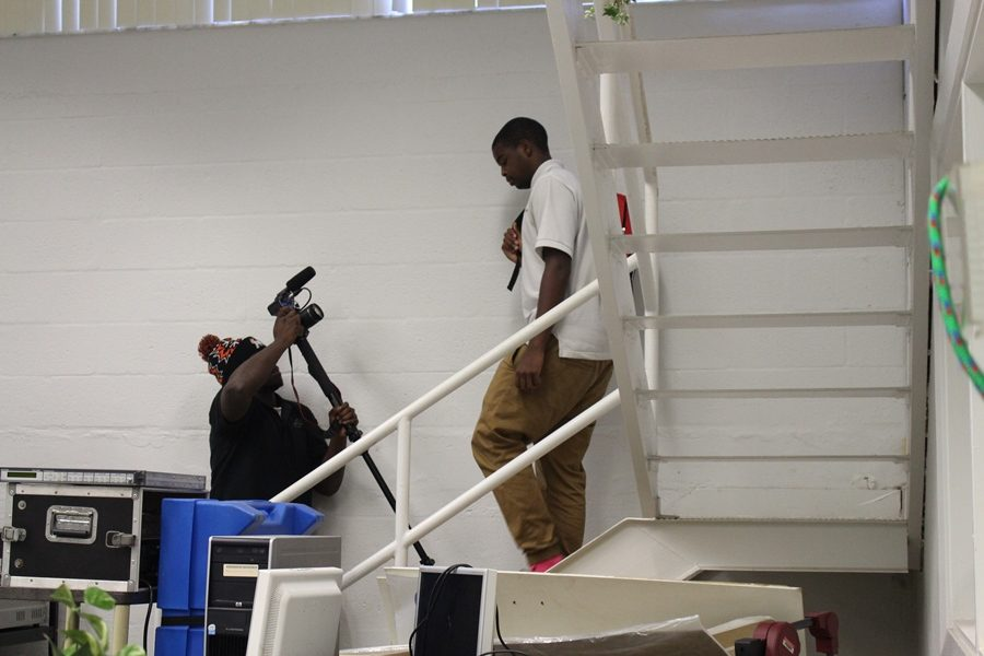 Terence Graham, shooting Devon Jones for an in class project.