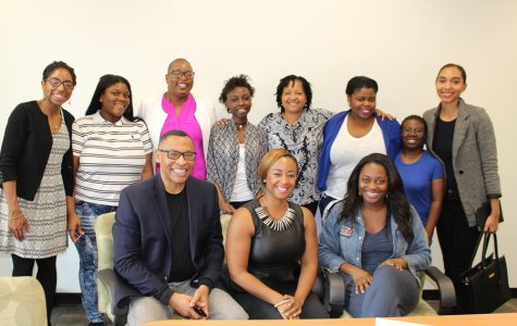 OH, THE POSSIBILITIES! Hurricane editors Traujauna Johnson (second from left) and Micaja Jeune (back row center) soaked up encouragement, advice and wisdom from seasoned multimedia professionals during the monthly meeting of the South Florida Black Journalists Association, Feb. 6.