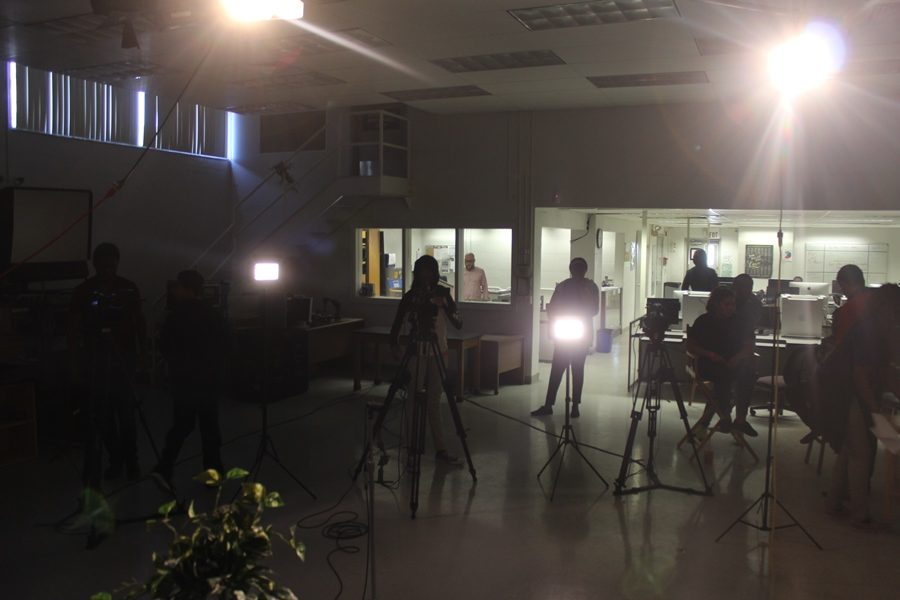 LIGHTS,CAMERA, ACTION: Mr. Razzas Industrial Communications Class  has the lights camera and sound all booted up and is ready to roll