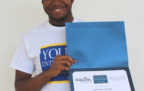 MAKE THAT MONEY: Jaleel Thomas, a senior in the Culinary Academy, received $500 to launch his business called
