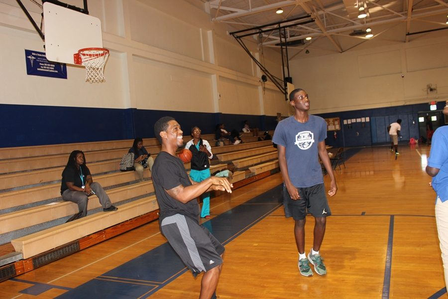 SHOOTING AROUND: Jaylen and Coach Rayshard  Sharing a laugh .