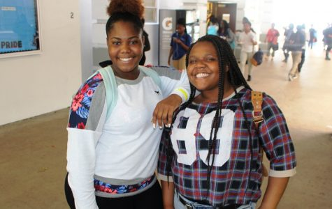LUNCHTIME SMILES: Ayanna Brown, left, and Samyrah Moses.