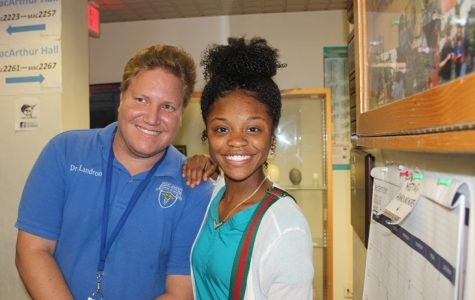 MEDICAL ON THE MOVE: Dr. Landron, left, and Donasia Wilson in a chemistry classroom while enjoying the Hurricane Medical Academy students' visit to Palm Beach Atlantic University on Sept. 28.
