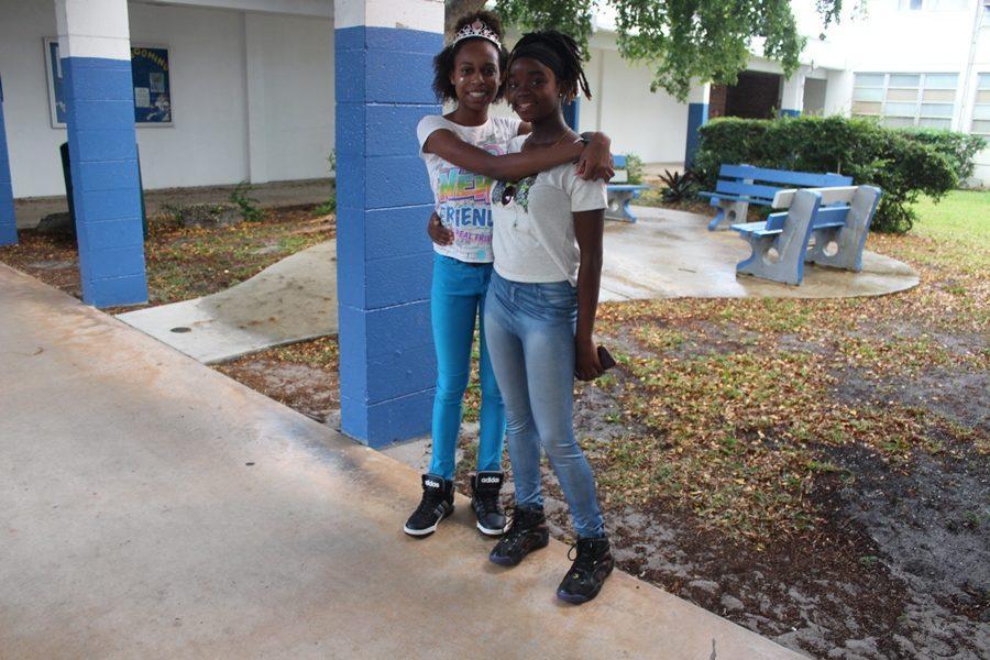 Student Rene Clarke (Culinary) celebrates her birthday with friend Micaree Jones (Medical)