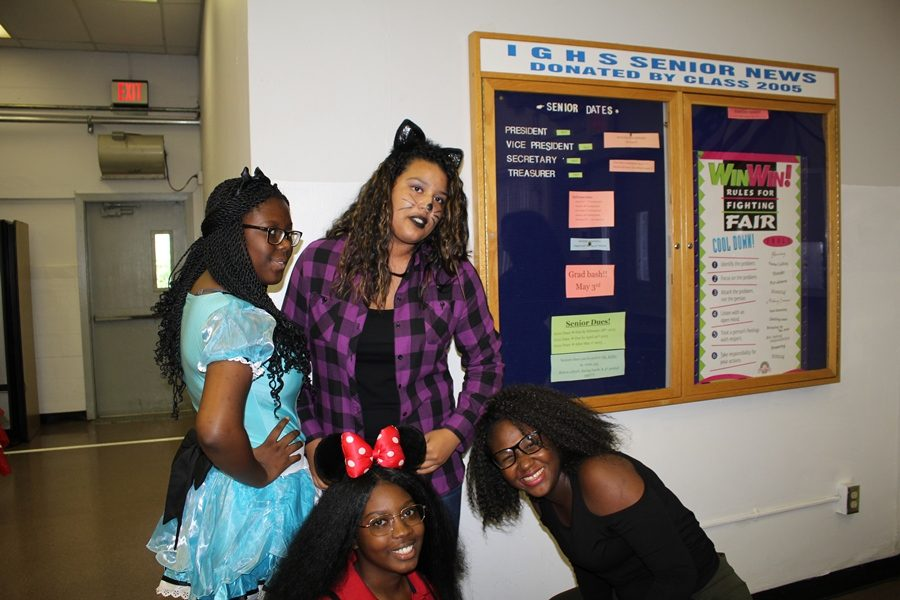 MORE CANE FUN: From Micky Mouse to Kim Possible, the student stars came alive on Disney Day, Oct. 24. From left are Ruthney Jovin, Karla Lopez, Nyoka Fowler and Leeds Antoine.