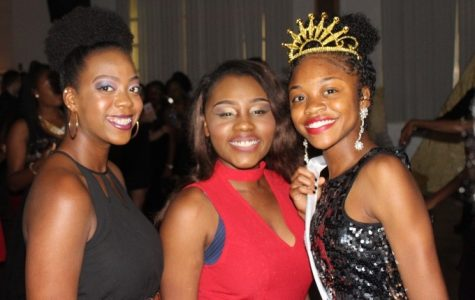 SENIORS' NIGHT: The atmosphere was filled with excitement and happiness, and the DJ played many varieties of music for different cultures and styles, as members of the Class of 2017 including, (from left) Taylor Douglas, Mildred Augustin and Donasia Wilson, Homecoming Queen, enjoyed their last Homecoming Dance, Oct. 29 in the cafeteria. Student Government Association adviser Ms. Morrison worked tirelessly to organize the event and throughout the night, while other staff members served food and served as chaperones.