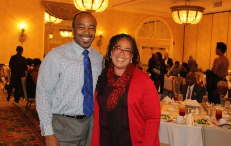 TOGETHER WE STAND: Newly elected State Sen.  Bobby Powell, left, and this year's honoree, Palm Beach County School Board member Debra Robinson, shared political humor, unity and admiration during the 8th Annual Community Roast on Nov. 5, days before the 2016 general election.