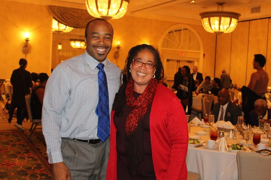 TOGETHER+WE+STAND%3A+Newly+elected+State+Sen.++Bobby+Powell%2C+left%2C+and+this+year%27s+honoree%2C+Palm+Beach+County+School+Board+member+Debra+Robinson%2C+shared+political+humor%2C+unity+and+admiration+during+the+8th+Annual+Community+Roast+on+Nov.+5%2C+days+before+the+2016+general+election.