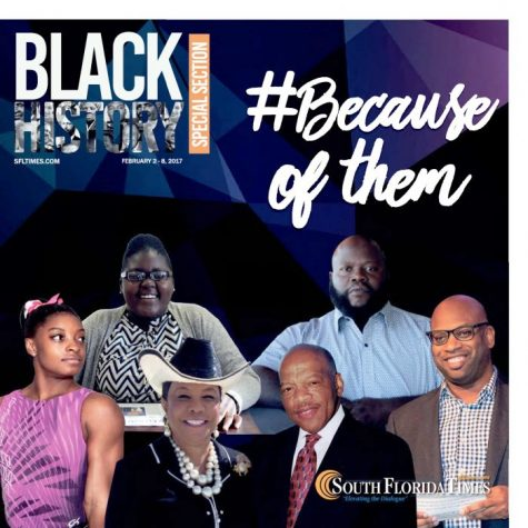 MAKING MORE HISTORY: GroveWatch.com Editor-in-Chief Brianna Luberisse (top left), is featured on the front of the Black History Special Section of the current edition (Feb. 2) of the South Florida Times, whose staff noted her harmony with the newspaper