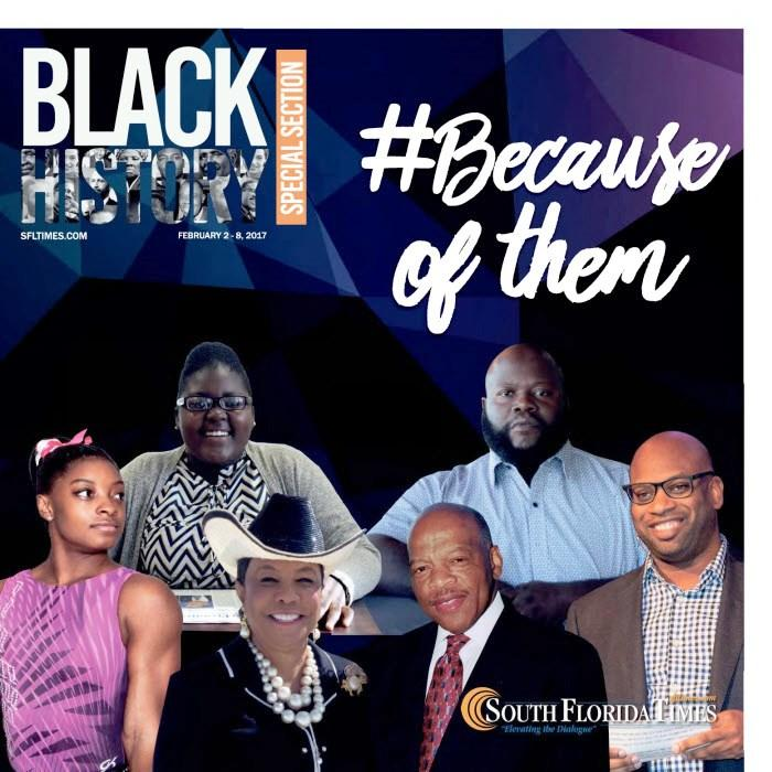 MAKING MORE HISTORY: GroveWatch.com Editor-in-Chief Brianna Luberisse (top left), is featured on the front of the Black History Special Section of the current edition (Feb. 2) of the South Florida Times, whose staff noted her harmony with the newspaper's motto: