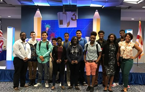 GETTING CREATIVE: MULTIMEDIA ACADEMY students who traveled to Miami Dade College with Web Design instructor Mrs. Millington (right) and Digital Design instructor Mr. Bell (left) on April 5 included: (from left) Nicholas Brewster, Oniver Castro, Adrian Torres, Chelsea Seignon, Javar Miller, Vanessa Dulcio, Jesus Velasquez, Carolyn Williams, Dharma Alcius, Lanika Vernice and Dayvon Miller.