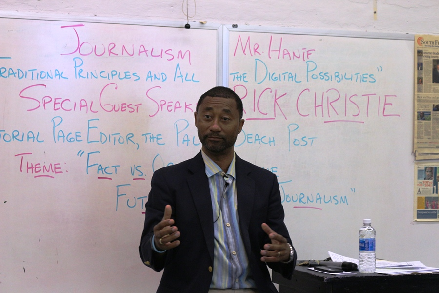 RICK CHRISTIE OF THE PALM BEACH POST: Its OK to be curious, said the newspapers editorial page editor and special guest speaker during the Journalism students third period.