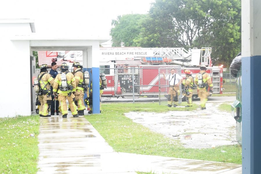 HECTIC HURRICANES: Five emergency vehicles were on the scene during third period when a fire started in Building 6. Firefighters arrived swiftly just as students were evacuating their classrooms to their designated areas.