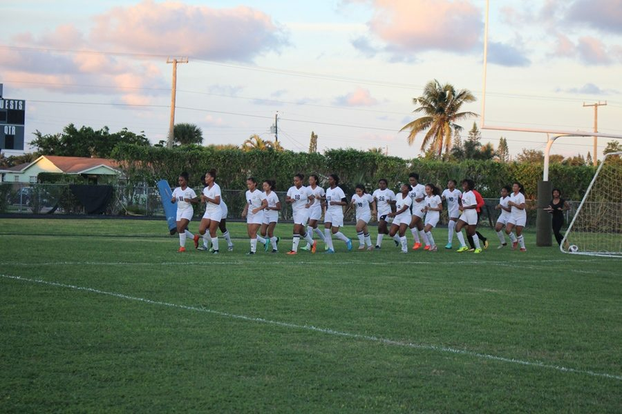 CONGRATULATIONS: The girls soccer team won 5-2 against Port St. Lucie Nov. 8, Jada Hall scoring three goals and Desiree Coleman-Williams scoring two.