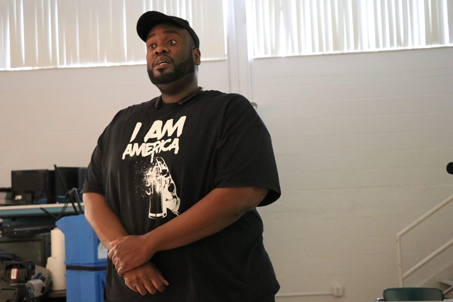 ALL EYES ON HIM: The TV & Film Production class stayed focused on Lyndell Thomas, a filmmaker who visited the Hurricanes as part of Entrepreneurship Week, to inform the students of the possibilities in filmmaking on a budget.