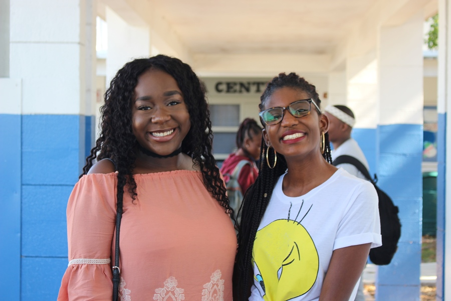 MERRY CANES-MASS: Class of 2017 LPN students Shannon James, left, and Numgine Jean-Bernard visited the campus and reconnected with former teachers as they reminisced about their four years as a Hurricanes.