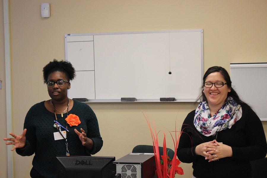 ANALYZING THE MIND: Licensed Clinical Social Workers from left Shandia Anderson and Ana speak to medical students about their work at Jerome Golden Center for Behavioral Health.