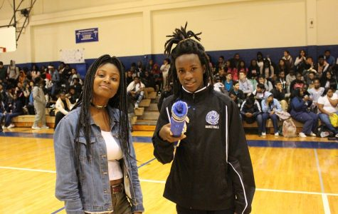 IN THE GYM: Students gathered for the Pep Rally hosted by Kathleen Morvan and Marc Filsaime to honor the girls and boys soccer and basketball teams. Elijah May performed a song to cap off the Jan 19 rally.