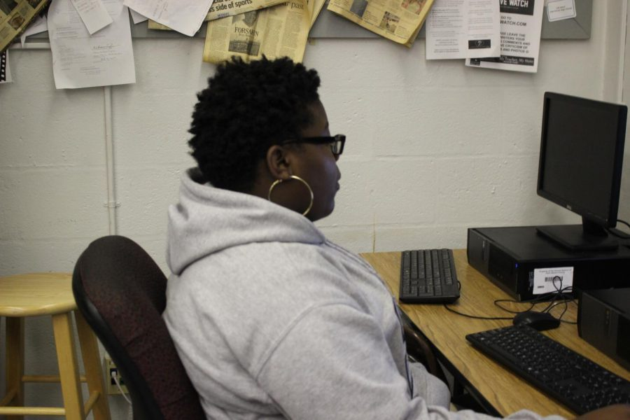 Student working on projects.