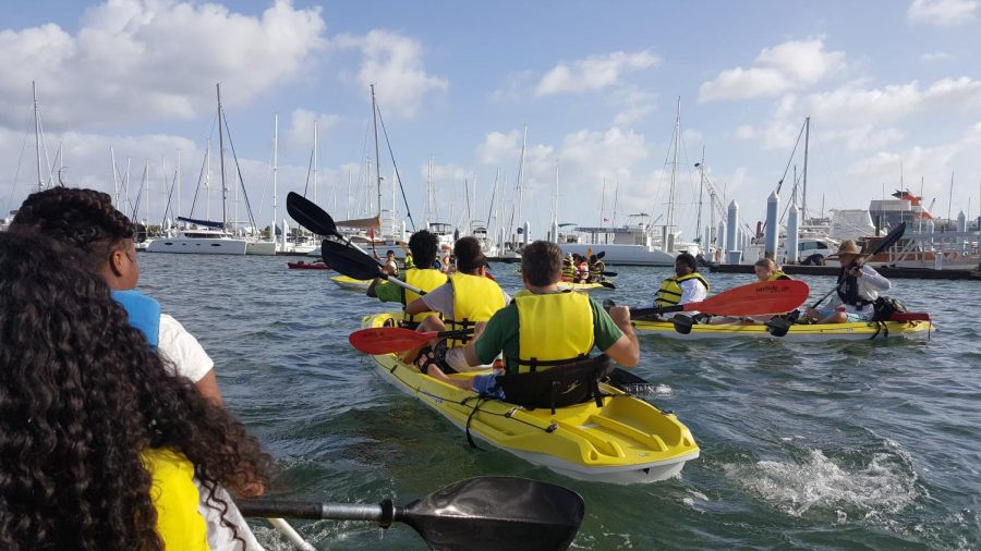 LET%27S+PADDLE+%3A+The+Adventure+Club+went+on+its+first+outing+on+Feb.+21+to+go+kayaking+to+Peanut+Island+from+the+Riviera+Beach+Marina.+Members+and+teachers%2C+Mr.+McDermott%2C+Mr.+Rice%2C+Ms.+Hill%2C+and+Mr.+Miller+got+to+learn+about+sea+creatures+such+as+starfishes%2C+and+hang+out+by+the+water.+%0A