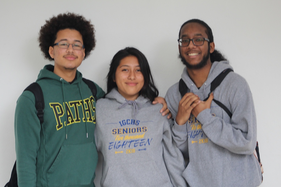ETHNICITY: (from left) Anthony Lopez , Deilyn Mendez-Lopez, and Gregory Dozier are three out of the many Hispanic students who speak the Spanglish language