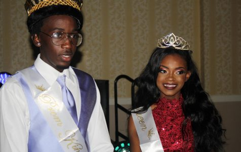 A LAVISH NIGHT: Courtney Washington, right, and Ashlee Phiseme were crowned King and Queen of prom 2K18, but all canes were kings and queens as Ms. Mathias and the rest of the junior class crew made it a Night in the Ivory Palace.