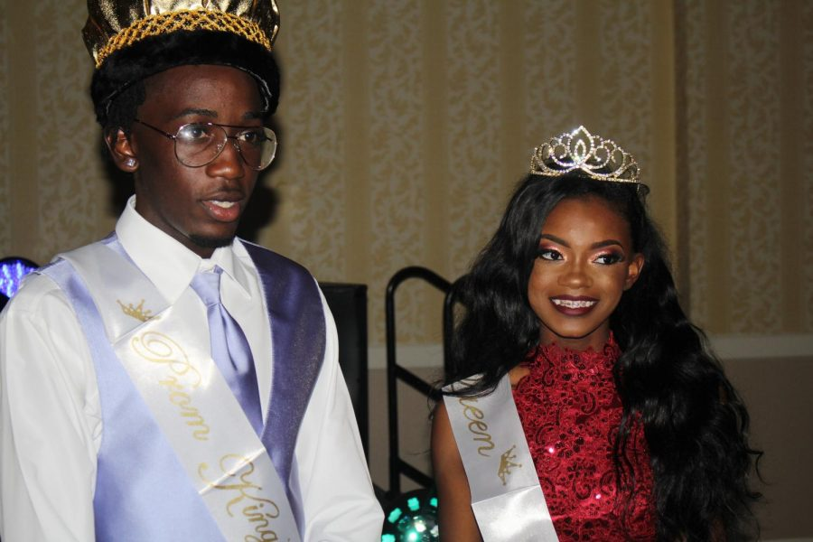 A+LAVISH+NIGHT%3A+Courtney+Washington%2C+right%2C+and+Ashlee+Phiseme+were+crowned+King+and+Queen+of+prom+2K18%2C+but+all+canes+were+kings+and+queens+as+Ms.+Mathias+and+the+rest+of+the+junior+class+crew+made+it+a+Night+in+the+Ivory+Palace.