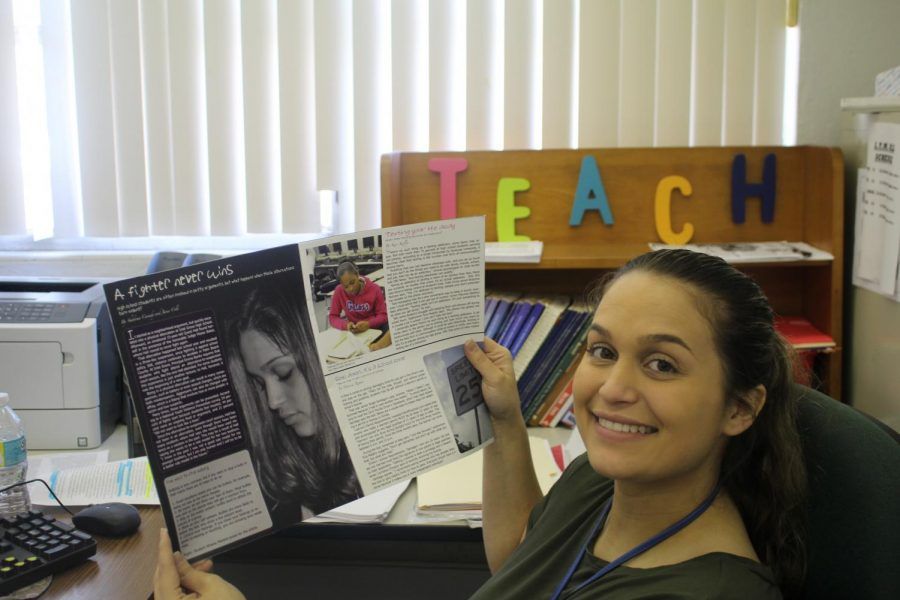 THROWBACK THURSDAY: Mrs. Manera poses with Inlet Groves Forecast magazine of 2011. Goes from student to teacher in seven years.