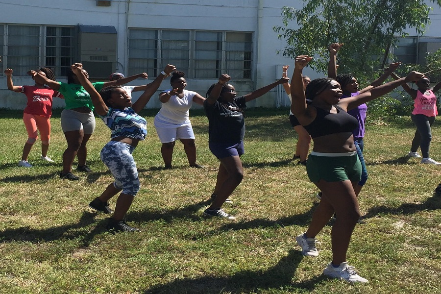BABY CANES: New dancers and cheerleaders practice for their last day of tryouts.