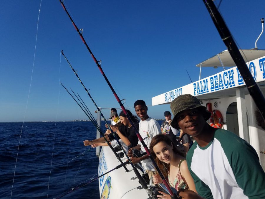 FINS UP: Florida Fishing Academy took Inlet Grove's Outboard Marine Academy deep sea fishing in Peanut Island Nov.2.
