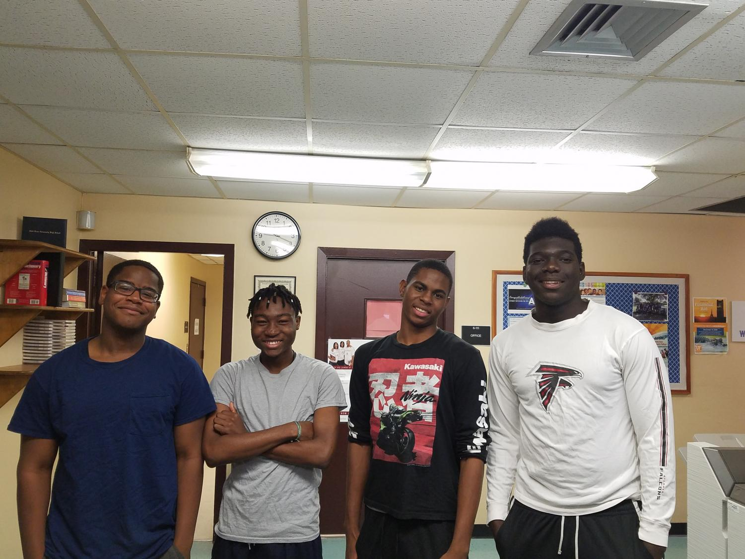 THE COME BACK: A few students from class of 2018 decided to stop by, their names, school name, and major from left to right are: Michael Andre, Palm Beach State College (Palm Beach Gardens Campus), Biotechnology; Alex Jeannite, Florida State University, Computer Science; Philip Jn Pierre, Palm Beach State College (Lake Worth Campus), Biology; and Hawonce Luberisse, Palm Beach State College, Architecture (Boca Raton Campus).