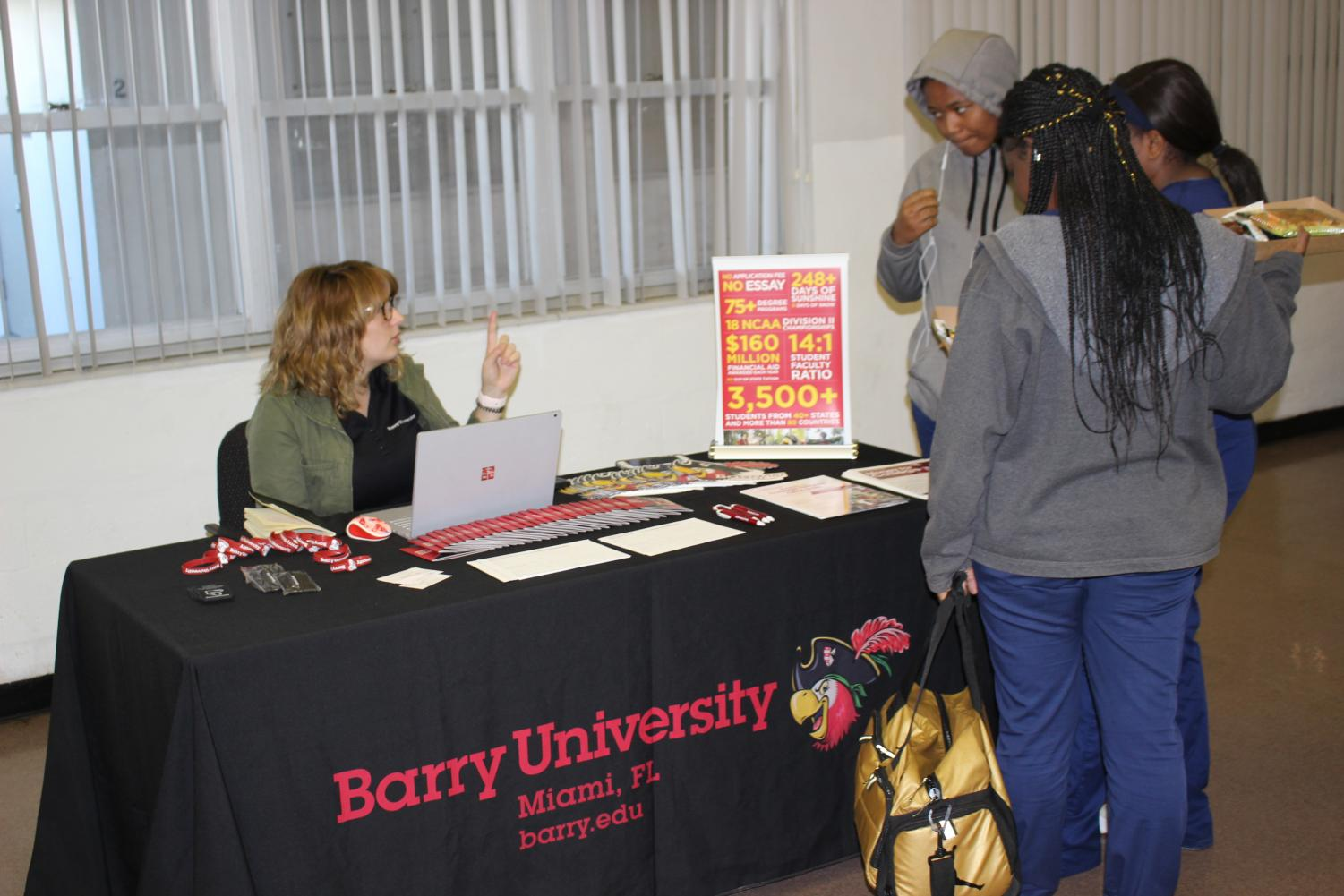 GREAT OPPORTUNITY: Barry University visits during lunch to show what programs they have to offer to our Hurricanes that are interested.
